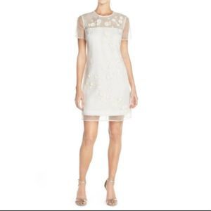 Ted Baker London White Embellished Floral Dress 10